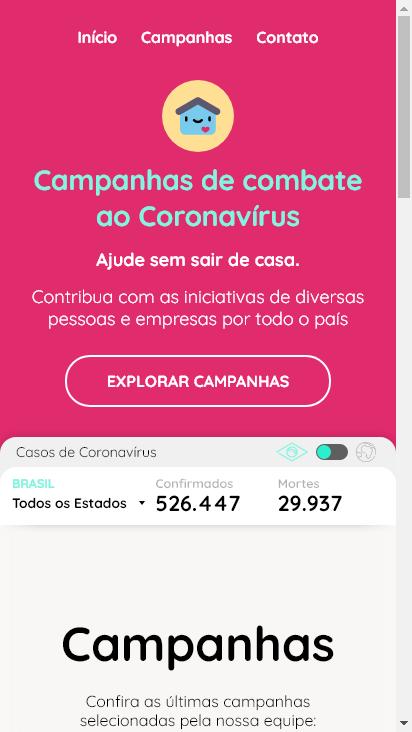 Screenshot mobile - https://pandemiasolidaria.com/