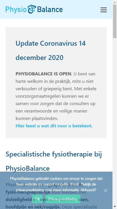 Screenshot mobile - https://physiobalance.nl/