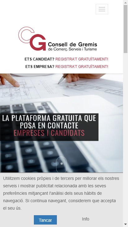 Screenshot mobile - https://plataformatreball.cat/home