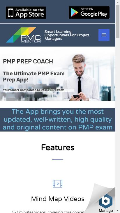 Screenshot mobile - https://pmpprepcoach.com/
