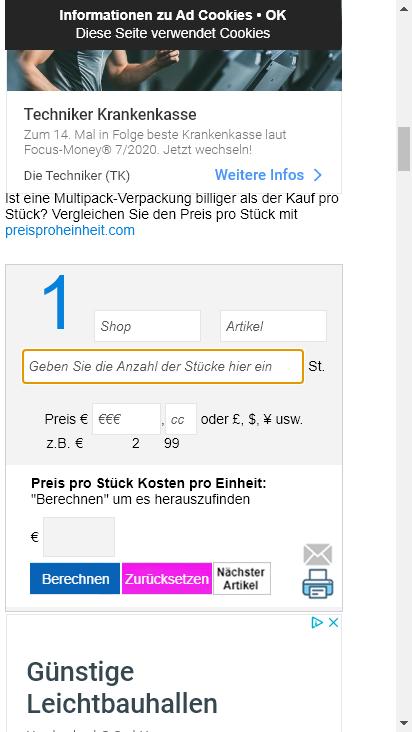 Screenshot mobile - https://m.preisproeinheit.com/