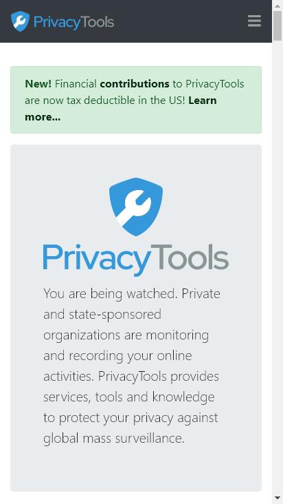 Screenshot mobile - https://www.privacytools.io/