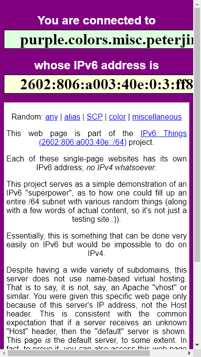 Screenshot mobile - https://purple.colors.misc.peterjin.org/