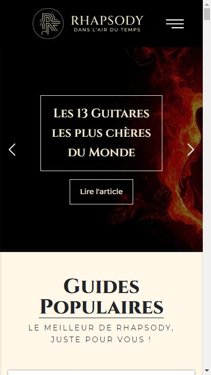 Screenshot mobile - https://www.rhapsody.fr/