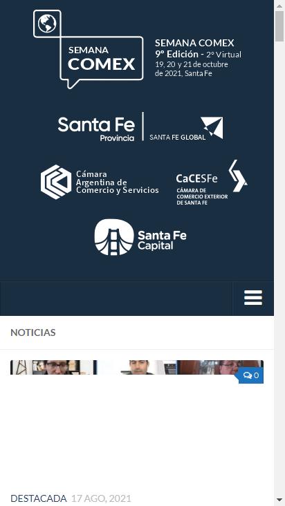 Screenshot mobile - https://www.semanacomex.com.ar/