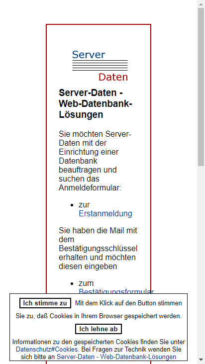 Screenshot mobile - https://www.server-daten.de/