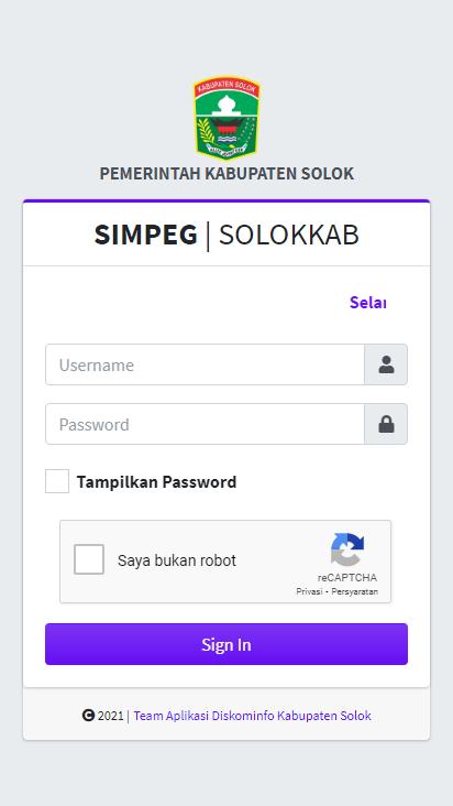 Screenshot mobile - https://simpeg.solokkab.go.id/