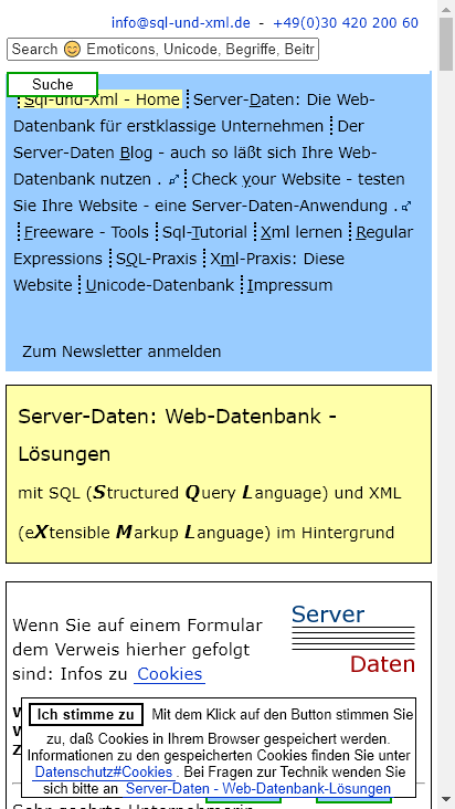 Screenshot mobile - https://www.sql-und-xml.de/