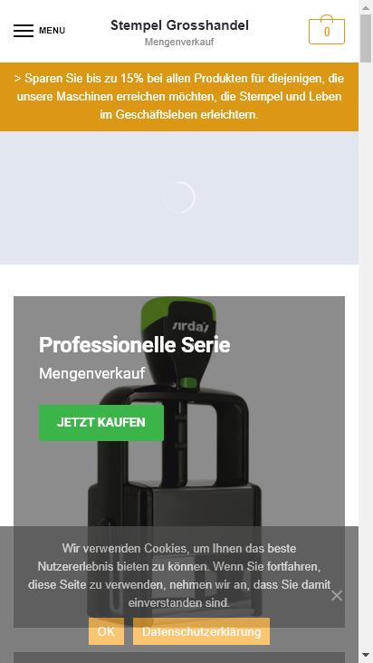 Screenshot mobile - https://www.stempelgrosshandel.de/