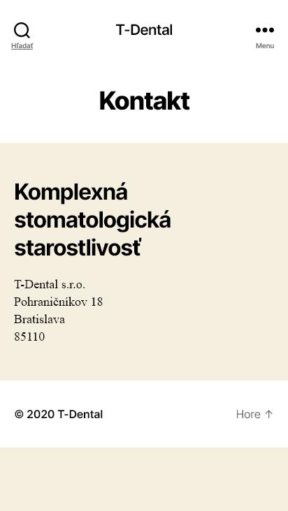 Screenshot mobile - https://www.t-dental.sk/