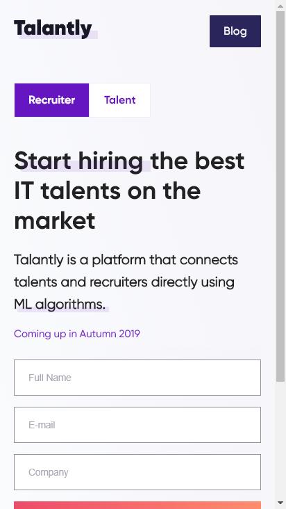 Screenshot mobile - https://talantly.com/en/