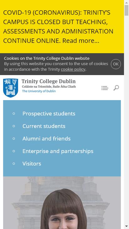 Screenshot mobile - https://www.tcd.ie/