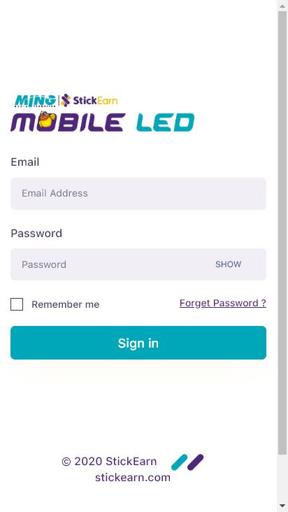 Screenshot mobile - https://tron.mobileled.io/login