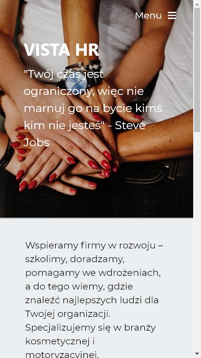 Screenshot mobile - https://vista-hr.me/