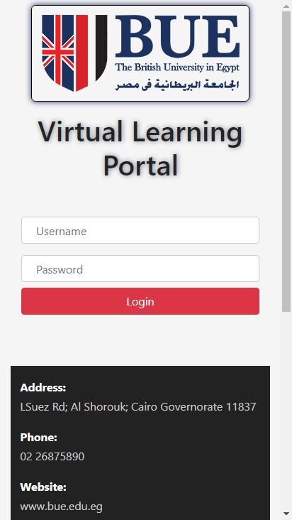 Screenshot mobile - https://vlms.bue.edu.eg/