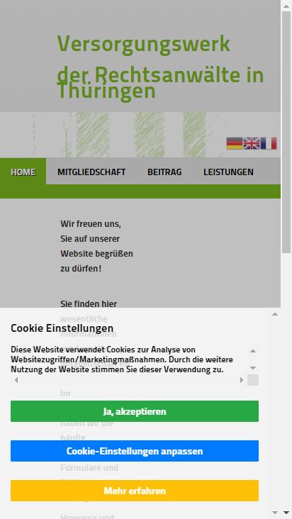 Screenshot mobile - https://vsw-ra-th.de/