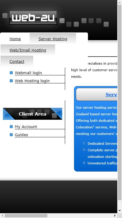 Screenshot mobile - https://web-2u.co.nz/