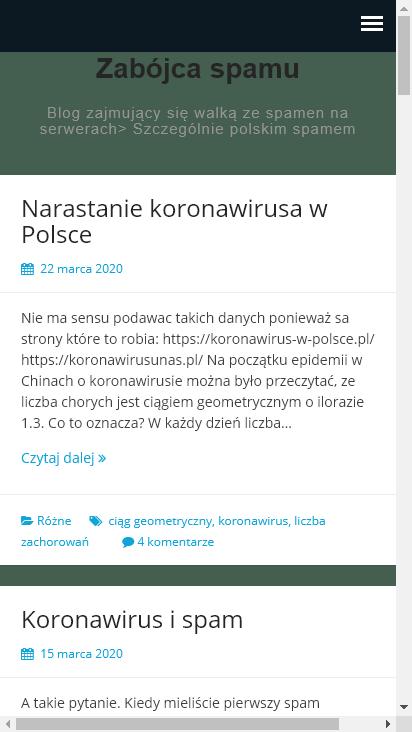 Screenshot mobile - https://zabojcaspamu.pl/
